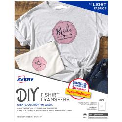 """Avery® Inkjet Printer T-Shirt Transfer Paper, Letter Size (8 1/2"""" x 11""""), Pack Of 12"""