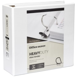 "Office Depot® Brand Heavy-Duty View 3-Ring Binder, 4"" D-Rings, 49% Recycled, White"