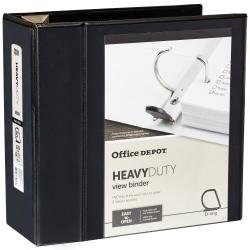 "Office Depot® Brand Heavy-Duty D-Ring View Binder, 5"" Rings, Black"