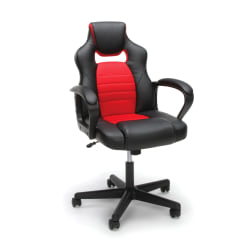 Essentials By OFM Racing-Style Mid-Back Gaming Chair, Red/Black