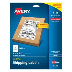 "Avery® TrueBlock® Permanent Inkjet Shipping Labels, Internet, 8126, 5 1/2"" x 8 1/2"", White, Pack Of 50"