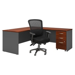 """Bush Business Furniture Components 72""""W L-Shaped Desk With Mobile File Cabinet And High-Back Multifunction Office Chair, Hansen Cherry/Graphite Gray, Standard Delivery"""