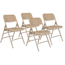 National Public Seating Steel Triple Brace Folding Chairs, Beige, Pack Of 4