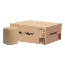 Highmark® Hardwound 1-Ply Paper Towels, 100% Recycled, Natural, 800' Per Roll, Pack Of 6 Rolls