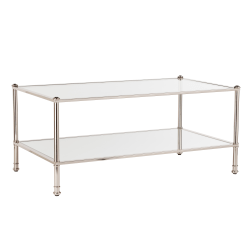 Southern Enterprises Paschall Cocktail Table, Rectangle, Clear/Silver