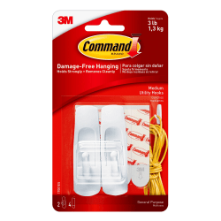 Command Medium Utility Hooks - 3 lb (1.36 kg) Capacity - for Home, Office - White -2 Hooks, 4 Strips/Pack