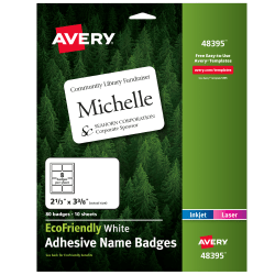 """Avery® EcoFriendly 100% Recycled Name Badges, 2 1/3"""" x 3 3/8"""", White, Pack Of 80"""