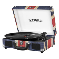 "Innovative Technology Victrola Bluetooth® Suitcase Record Player, 5""H x 10""W x 14""D, Union Jack"