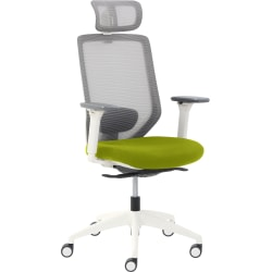 True Commercial Phoenix Mesh/Fabric High-Back Executive Chair With Headrest, Green/Off-White