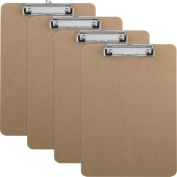 Business Source Flat Clip Hardboard Clipboard - Brown - 6 / Box