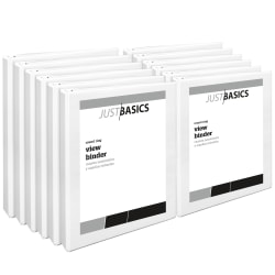 "Just Basics Round-Ring View Binder, 1"" Rings, 61% Recycled, White, Pack Of 12 Binders"