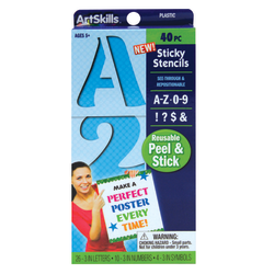 "Artskills® Sticky Stencils, 3"", Numbers/Letters/Symbols, Blue, Pack Of 40"