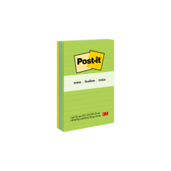 """Post-it® Notes, Lined, 4"""" x 6"""", Jaipur, Pack Of 3 Pads"""