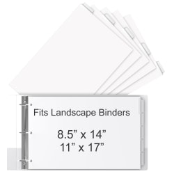 """Stride® Tab Dividers For Ledger And Spreadsheet Binders, 8 1/2"""" x 14"""", Legal Landscape Size, White/Clear, Pack Of 5 Tabs"""