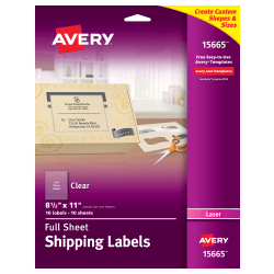 """Avery® Permanent Shipping Labels, 15665, 8 1/2"""" x 11"""", Clear, Pack Of 10"""