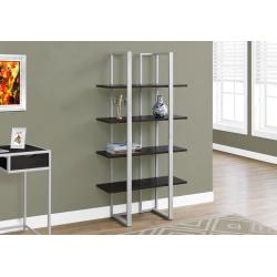 Monarch Specialties 4-Shelf Metal Bookcase, Cappuccino/Silver