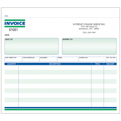 """Custom Carbonless Business Forms, Pre-Formatted, Invoice Forms, Ruled, 8-1/2"""" x 7"""", 2-Part, Box of 250"""