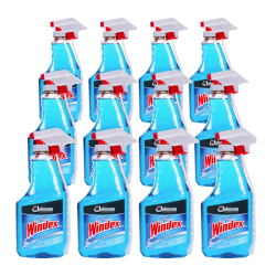 Windex® Glass Cleaner With AMMONIA-D, 32 Oz, Blue, Box Of 12 Bottles