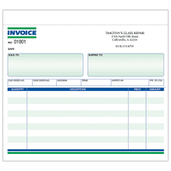 "Custom Carbonless Business Forms, Pre-Formatted, Invoice Forms, Ruled, 8-1/2"" x 7"", 3-Part, Box of 250"