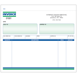 """Custom Carbonless Business Forms, Pre-Formatted, Invoice Forms, Unruled, 8-1/2"""" x 7"""", 3-Part, Box of 250"""