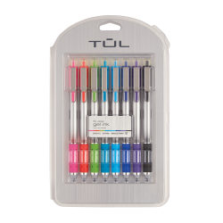 TUL® Retractable Gel Pens, Needle Point, 0.5 mm, Silver Barrel, Assorted Bright Inks, Pack Of 8 Pens