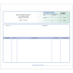 """Purchase Order Forms, Unruled, 2-Part, 8 1/2"""" x 7"""", Box Of 250"""
