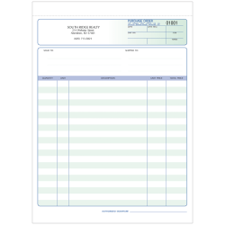 "Custom Carbonless Business Forms, Pre-Formatted, Purchase Order Forms, Ruled, 8-1/2"" x 11"", 2-Part, Box of 250"