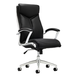 Realspace® Modern Comfort Verismo Bonded Leather High-Back Executive Chair, Black/Chrome
