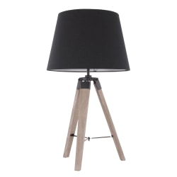 Lumisource Compass Mid-Century Modern Table Lamp, Grey Washed Wood/Black
