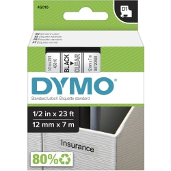 "DYMO® D1 Standard Labels Tape, Black On Clear, 0.5"" x 23'"