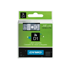 """DYMO® D1 Electronic Label Maker Tape, 0.5"""" x 23', White Print/Clear Label"""