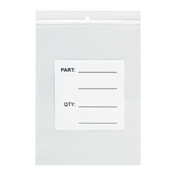 """Office Depot® Brand Parts Bags With Hang Holes, 3"""" x 4"""", Clear/White, Case Of 1,000"""