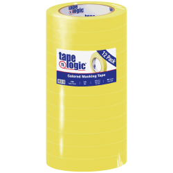 """Tape Logic® Color Masking Tape, 3"""" Core, 0.75"""" x 180', Yellow, Case Of 12"""