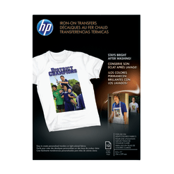 "HP Iron-On T-Shirt Transfers, 8 1/2"" x 11"", Black, Pack Of 10 Sheets"