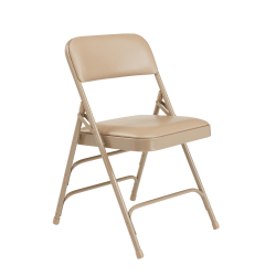 National Public Seating Vinyl Upholstered Triple Brace Folding Chairs, Beige, Pack Of 80