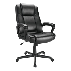 Realspace® Hurston Bonded Leather High-Back Executive Chair, Black
