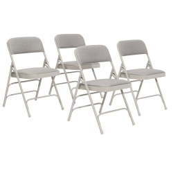 National Public Seating Fabric Upholstered Triple Brace Folding Chairs, Gray, Pack Of 4