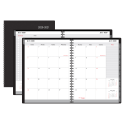 "Office Depot® Weekly/Monthly Academic Planner, Horizontal Format, 8"" x  11"", 30% Recycled, Black, July 2020 to August 2021"