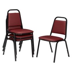 National Public Seating Standard Vinyl Padded Stack Chair, Burgundy/ Black, Pack Of 4