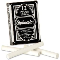 """Alphacolor® Chalk Sticks, Premium White, 3/8"""" Diameter, 12/Box - 0.4"""" Diameter - White - 12 / Box"""