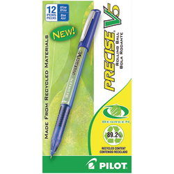 Pilot® Precise V5 BeGreen Rollerball Pens, Extra-Fine Point, 0.5 mm, 89% Recycled, Blue Barrel, Blue Ink, Pack Of 12