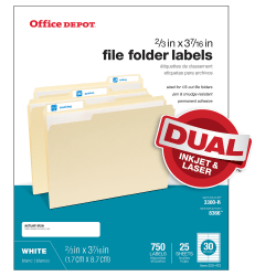 "Office Depot® Brand Permanent Inkjet/Laser File Folder Labels, 505-O004-0011, 2/3"" x 3 7/16"", White, Pack Of 750"