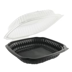 Anchor Packaging Culinary Classics® Microwavable Containers With Tear-Away Lids, 1.2 Qt, Black/Clear, Carton Of 100 Containers