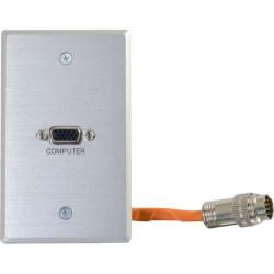 C2G RapidRun VGA (HD15) Single Gang Wall Plate - Aluminum - 1-gang - Aluminum - 1 x VGA Port(s)