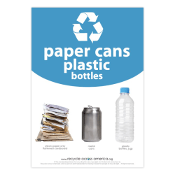 """Recycle Across America Paper, Cans And Plastic Standardized Recycling Label, PCP-1007, 10"""" x 7"""", Light Blue"""