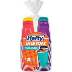 Hefty Everyday 16 oz Disposable Party Cups - 16 fl oz - 100 / Pack - Assorted Bright - Cold Drink, Party