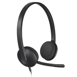 Usb Headset Plug And Play Black Office Depot