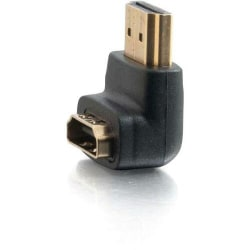 C2G HDMI Male to HDMI Female 90° Adapter - 1 x Type A Male Digital Audio/Video - 1 x Type A Female Digital Audio/Video - Gold Connector - Black