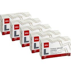 Office Depot Brand® Brand Paper Clips, Jumbo, 20-Sheet Capacity, Silver, 100 Clips Per Box, Pack Of 5 Boxes