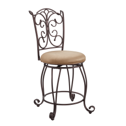 """Linon Home Decor Products Andrea 24"""" Gathered Back Counter Stool, Light Brown/Brown"""